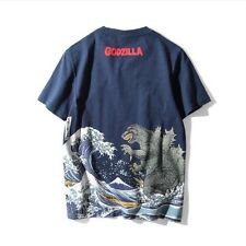 Godzilla T-shirt Ukiyoe Wave Print - Limited Edition - Navy Blue