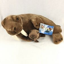 """Vintage Plush Walrus Mother and Baby Stuffed Animals 20"""" With Tags NWF 1996"""