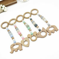 Baby Natural Wood Animal Teether Rattle Toys Silicone Beads Hanging Play Gym Toy