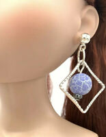Blue Crackled Agate Earrings Fashion Dolls Tyler Tonner FR16 1/4 BJD FREE S&H
