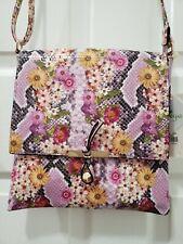 Le Miel Woman Snakeskin Crossbody Bag Shoulder Bag Leather Floral Pink