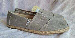 TOMS Mens Grey Linen Espadrilles Shoes Size 9 Eur 43 BNIB