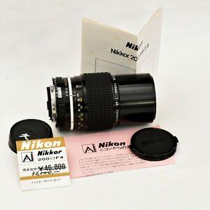 Nikon Nikkor 200mm f/4 AI Man'l Fcs Tele Lens. Mint-. Tested. See Test Images