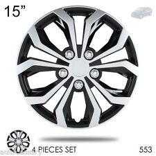 "For Mazda New 15"" Hubcaps Spyder Performance Black and Silver Wheel Covers 553"