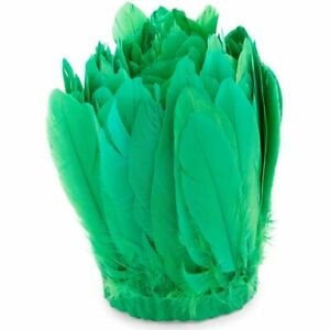 Feather Trim, Goose Feathers for Crafts (Neon Green, 3 Yards)