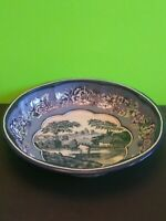 "Vintage 1971 Daher Decorated Ware Blue Willow Floral 10"" Metal Bowl"