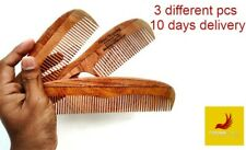 Hair Comb Natural Kohomba|Neem Wooden Beauty Ceylon  3 DIFFERENT PCS IN ONE