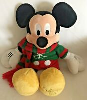 """Disney Store Holiday Mickey Mouse Plush 18"""" Sweater Scarf Christmas 2009"""