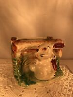 Vtg 50's Japan Hand Painted Pottery Art Easter Bunny Rabbit Planter Vase CUTE!