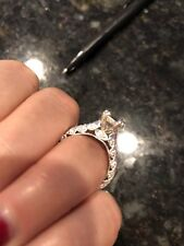 Diamond Platinum Semi-Mount Ring vintage millgrained For Oval Stone