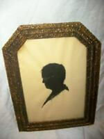 1920s MAN SILHOUETTE SIGNED FRENCH FARMHOUSE TEXTURED GILT GESSO FRAME GERMANY