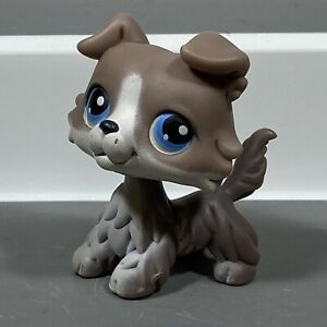 Littlest Pet Shop LPS # 67 Gray Brown White COLLIE Blue Eyes red dot