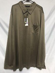 Axist Men's 2XLT Big N Tall Long Sleeve Polo With Pocket Greenish Brown NWT