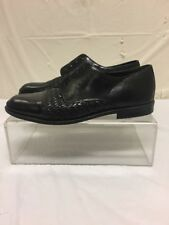 VTG Stanley Blacker Mens Black Leather Weaved Cap Toe Dress Shoes Sz 10 M