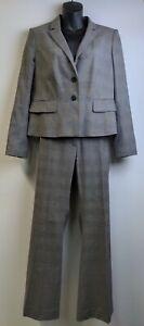 Ann Taylor Women's Suit 12 P Jacket Pants Gray Black Plaid Wool 2 Button