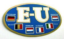 Auto-Aufkleber EU Kennzeichen Europa 6 Länderflaggen D B NL F I L 70er Oldtimer