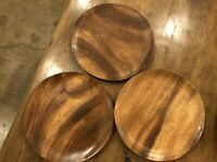 Set of 3 - BLAIR Honolulu Hawaii Monkey Pod Wood Plates Wooden VINTAGE SIGNED