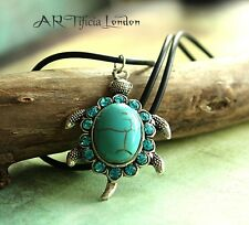 Silver Turtle Turquoise Pendant & Necklace | Lovely Aquatic Jewellery Gift