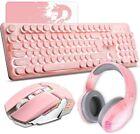 US Pink Gaming Wireless Keyboard Mouse and Bluetooth Headset Ergonomic LED Light