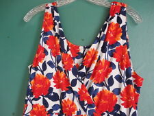 GARNET HILL XL Dress Jersey Knit Surplice Starlet Bold Floral red white blue NWT