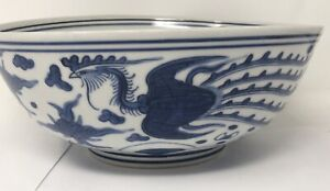 Chinese Ming Style Porcelain Blue and White Dragon Phoenix Bowl Oriental