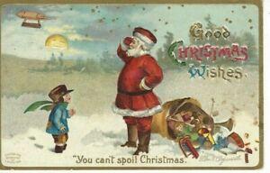 """ANTIQUE CHRISTMAS Postcard (ELLEN CLAPSADDLE)  SANTA, """"YOU CAN'T SPOIL CHRISTMAS"""