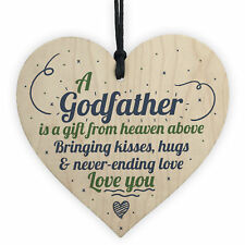 Godmother Godfather Gift Thank You Sign Wood Heart Christening Godparent Gifts