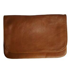 Vintage Brown Leather Fold Over Clutch Bag Destrade of California EUC