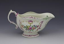 Early Worcester Large Polychrome Sauceboat c.1765 First Period Floral Dr Wall