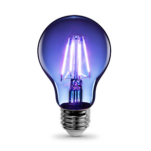 Feit Blue LED A19 Medium Screw Base Light Bulb - Clear Glass 120 Volt A19/TB/LED