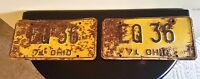 Vintage 1971 Ohio License Plate Pair Yellow and Green EQ 36