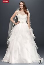 White lace organza wedding gown US size 8