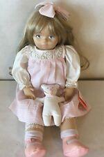 "DOLLS BY PAULINE Sculpted Cloth Doll 1985 22"" W/Bear PAULINE BJONNESS-JACOBSEN"