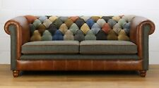 Chesterfield Harris Tweed Patchwork 3 seater sofa genuine leather