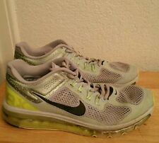 """Mens 10 NIKE """"Air Max 2013"""" Wolf Grey Volt Shoes $180 554886-007 used"""