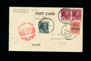 Zeppelin Sieger 58B 1930 1st South America Flight Spain Post to L'hurst to IOWA