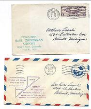 1930 US Cover Lot of 2 - Zimmerman Airport Dedication CO & Douglas AZ Air Derby*