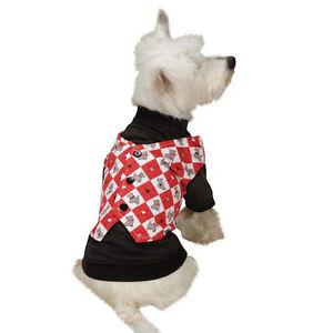 Z&Z Sweetheart Scottie Mock Dog Vest T-Shirt Valentine Christmas Argyle XXS