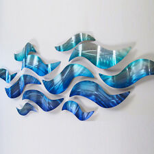 Large Metal Wall Sculpture Modern Abstract Art Blue Wave Painting Home Decor