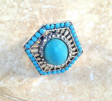 Stunning 100% Natural Blue Turquoise and Silver Hexagon Adjustable Ring