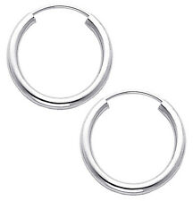 14K White Gold 2mm Thickness High Polished Endless Hoop Earrings