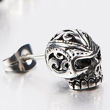silver stud stainless steel crystal SINGLE vintage style skull earring