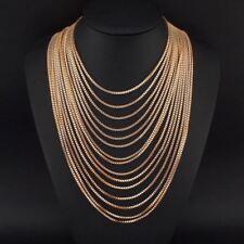 Women Multilayer Gold Chain Choker Bib Statement Necklace Pendant Jewelry