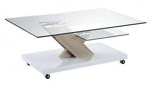 Arne 29 Coffee Table White Sonoma Oak Glass New Boxed