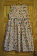 Handmade girls retro vintage pinafore dress age 8 pink w green clothes laundry