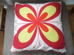IKEA Ivory/Red and Yellow Butterfly Patterned Cushion