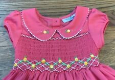 Nwot American Classic Clothes Hand Smocked Pink Dress with Yellow Flower Size 3