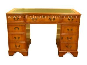 Brand New! ENGLISH EXECUTIVE DESK 5'x3' YEW, LEATHER from OFICINA BRITANNIA!!