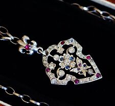 RARE EDWARDIAN DIAMOND PASTE, REAL RUBIES AND SAPPHIRES AMAZING NECKLACE