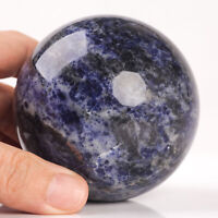 549g 73mm Large Natural Blue Sodalite Quartz Crystal Sphere Healing Ball Chakra